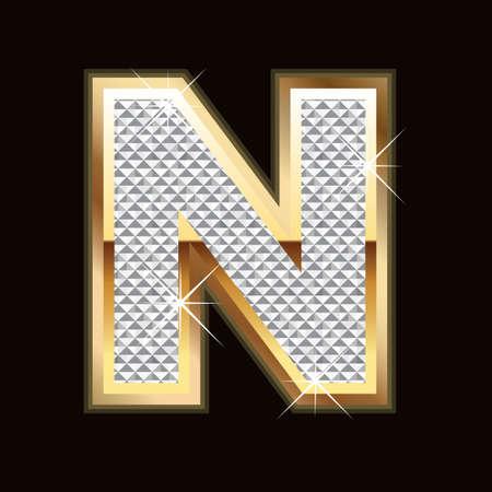 letras de oro: N carta bling
