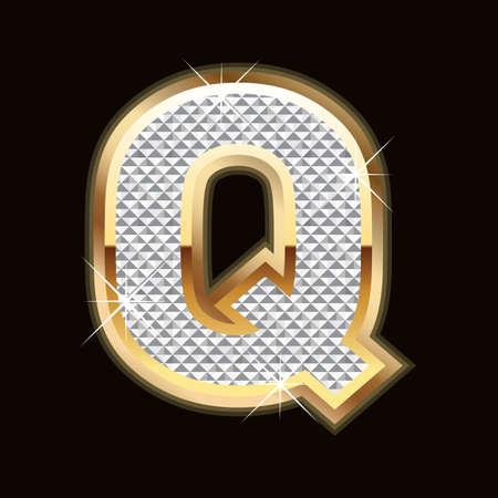 diamond letters: Q letter bling