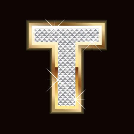 diamond letter: Lettera T bling Vettoriali