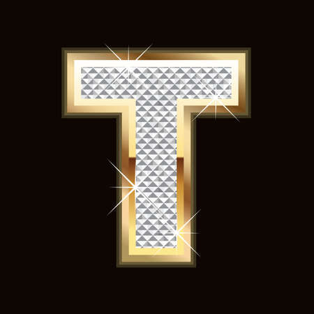 diamond letters: T letter bling Illustration