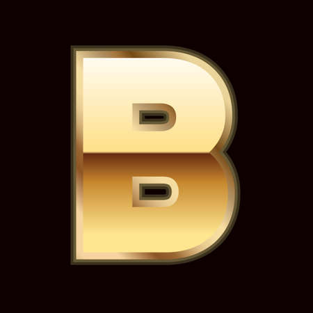 B letter in gold Stock Vector - 9835969
