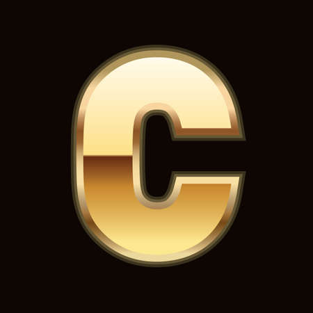 C letter in gold Vector