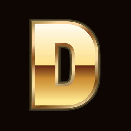 D letter in gold Vector