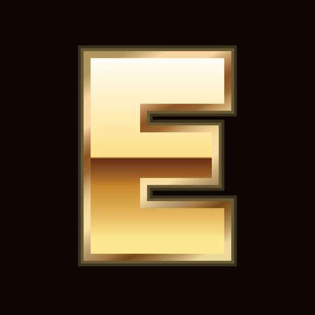E letter in gold Stock Vector - 9835975