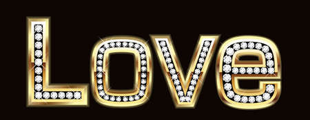 Love word in bling bling Vector
