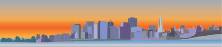 panoramic: San Francisco downtown Illustration