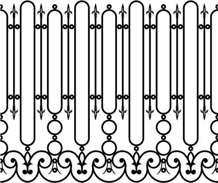 Wrought iron fence seamless Vector