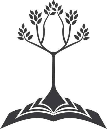 Groeiende boom met boek wortel Stock Illustratie
