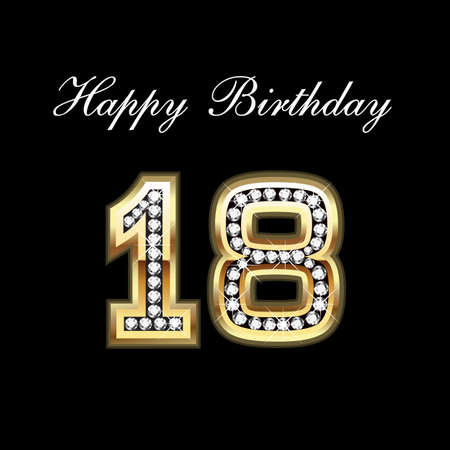 greeting card background: Happy Birthday 18