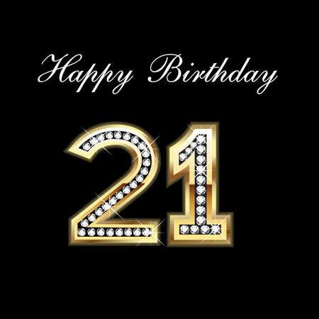 21st Happy Birthday Illustration
