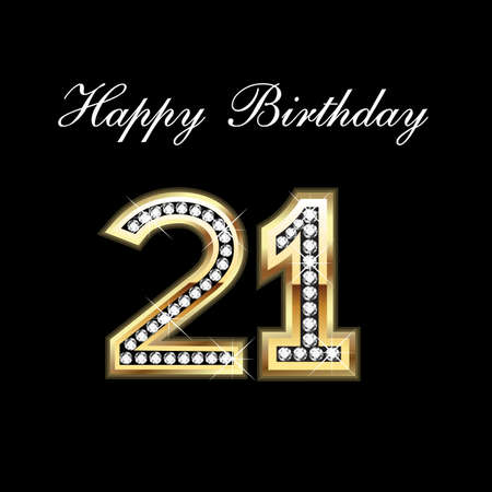 21st Happy Birthday Stock Illustratie