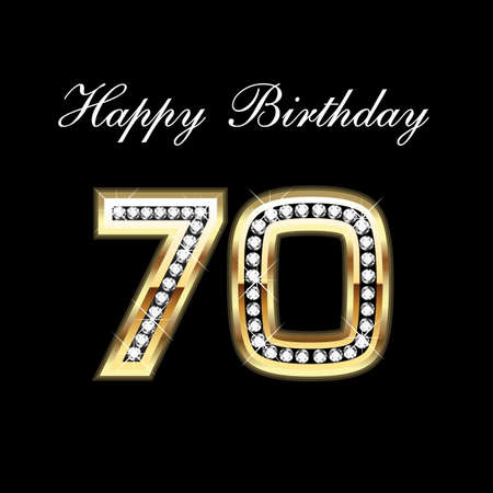 event party festive: 70th Happy Birthday Illustration