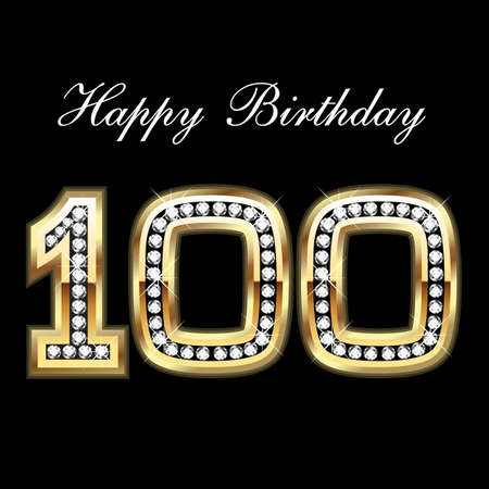 greeting card background: 100th Happy Birthday Illustration