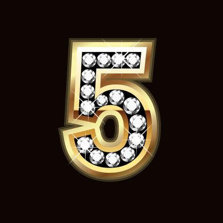 letras doradas: cinco bling bling