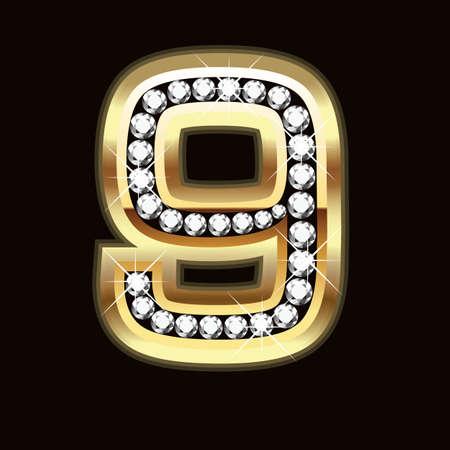 diamond letters: Nine bling