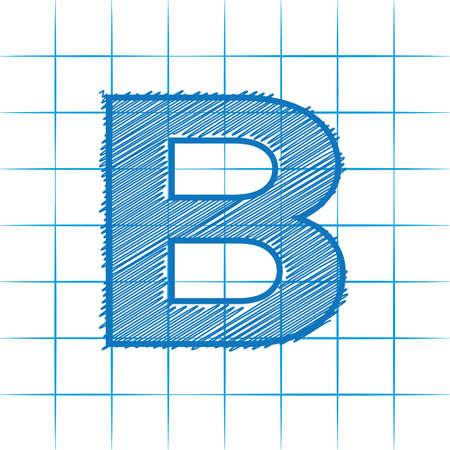 B engineered letter 向量圖像
