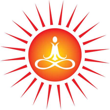 human mind: Yoga Icono de sol Vectores