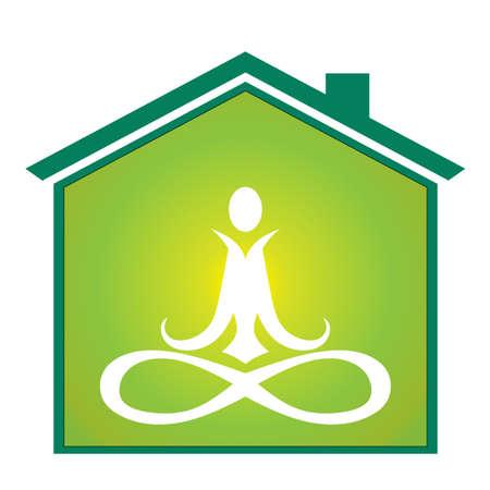 yoga meditation: Yoga inside house Illustration