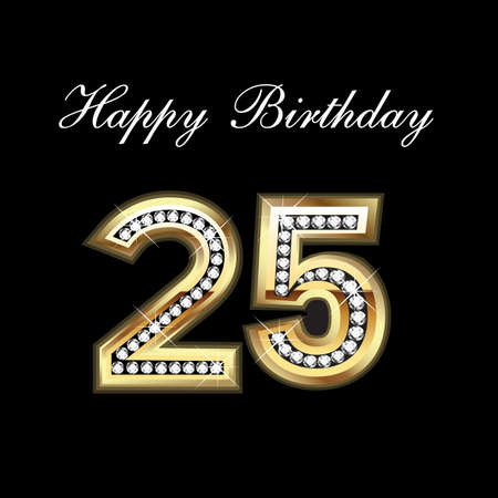 greeting card background: 25th Happy Birthday Illustration