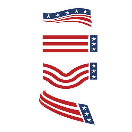 banderas americanas: Los iconos de Estados Unidos el grupo 4 Vectores
