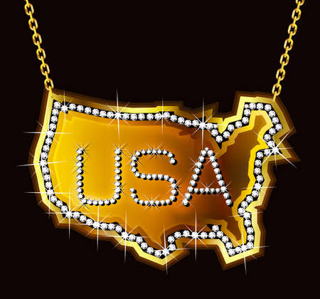 diamond stones: USA medallion Bling Bling Illustration