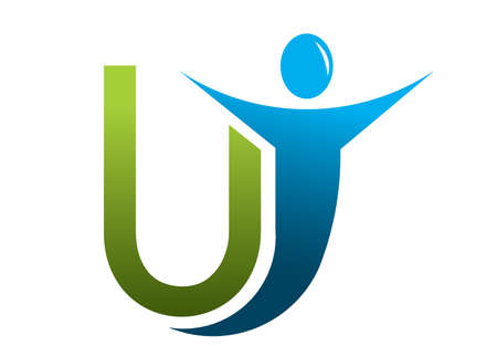 friendly people: Letter u abstract man