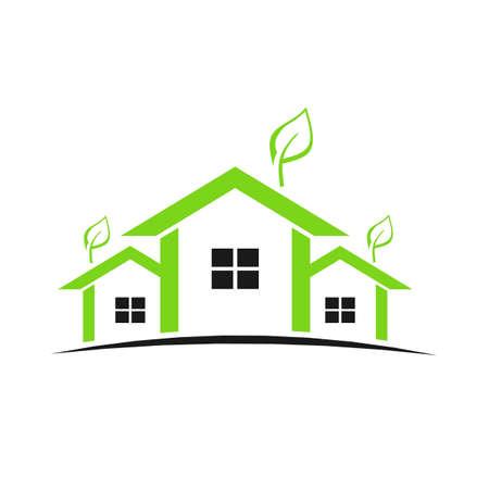 Groene huizen met planten Stockfoto - 12077644