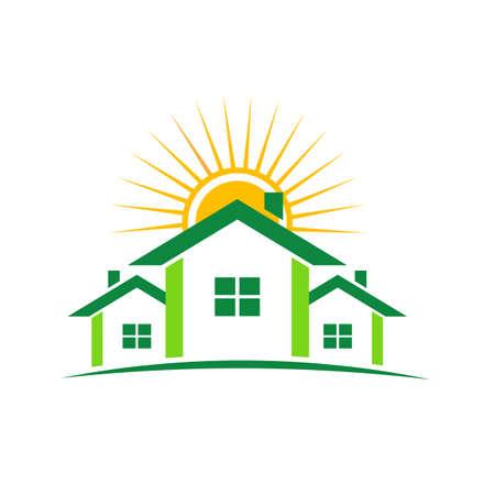 case colorate: Case verdi con il sole Vettoriali