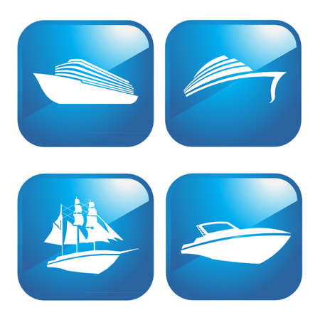 yacht isolated: Boats 4 icons