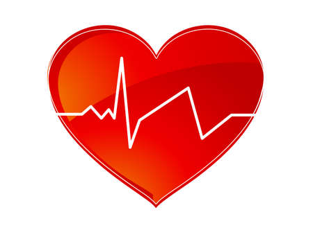 heart monitor: Red heart pulse
