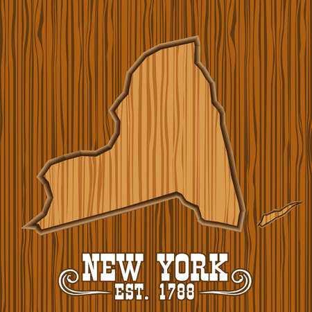 New york wooden map, carved Vector