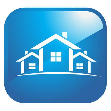 Conjunto de casas, icono brillante 3D