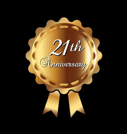 21th anniversary medal Vector