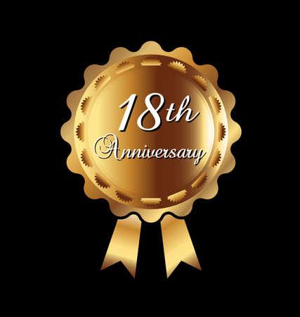 18 주년 기념 메달 일러스트