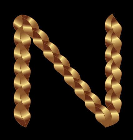 N gold woven letter crochet style Vector