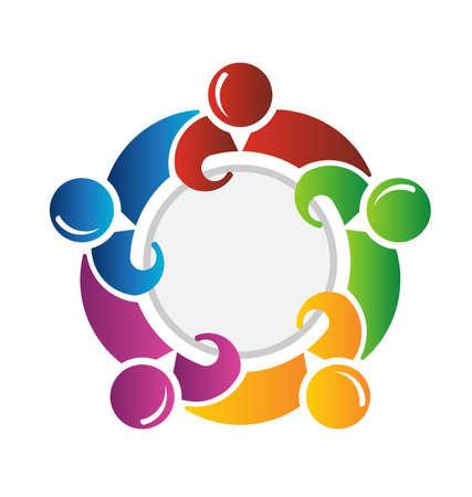 conectar: Equipo de alrededor de un c�rculo