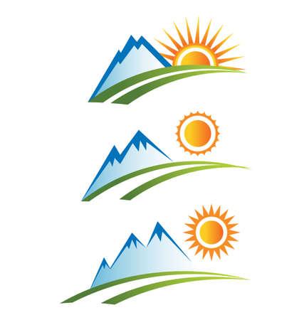 logo rock: Montagne avec des ic�nes soleil Illustration