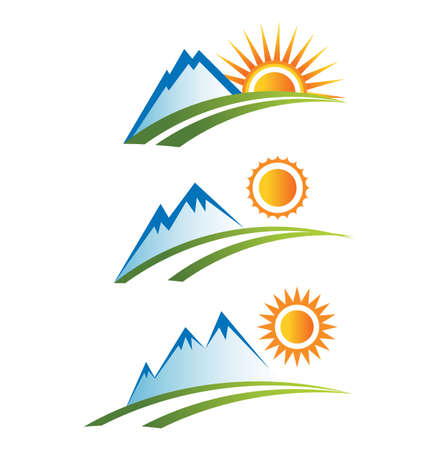 snow mountains: Mountain with sun icons Illustration