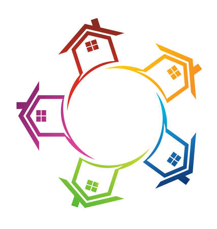 sell house: Group of houses in circle
