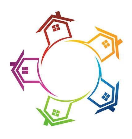 Gruppe von Häusern im Kreis