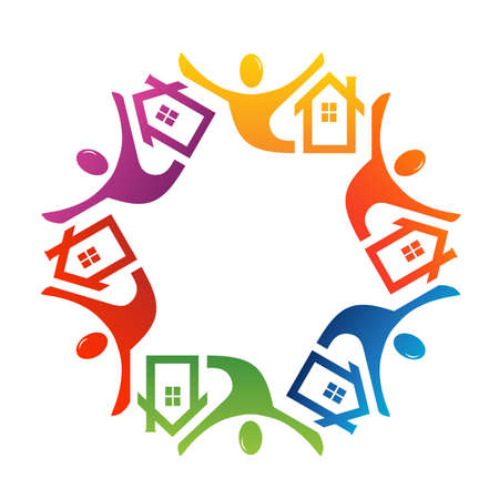 house in hand: Teamwork people house in circle Illustration