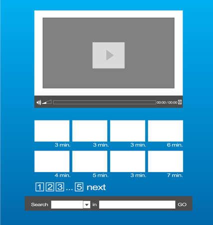 検索とギャラリー ビデオ テンプレート レイアウト  イラスト・ベクター素材