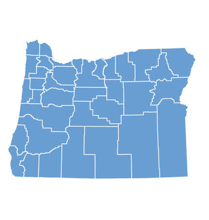 state of oregon: Oregon State Map by counties Illustration