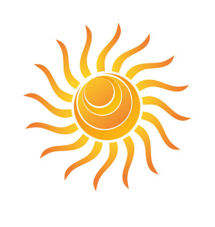 Gele Shiny zon met stralen en cirkel golven