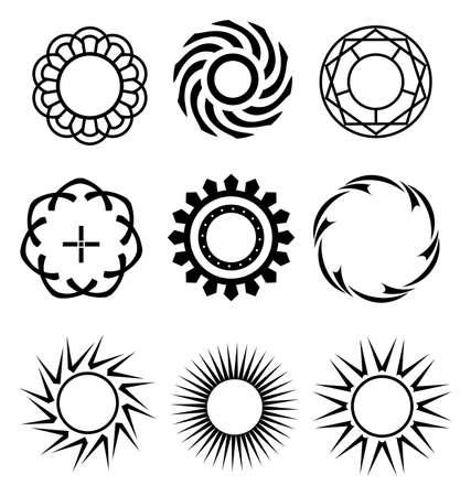 Black Circle design elementen 1 Stock Illustratie