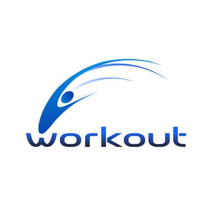 People workout swoosh logo Vector