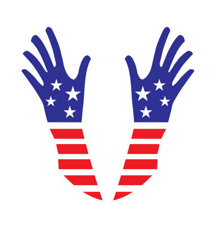 fingers: USA hands stars and stripes