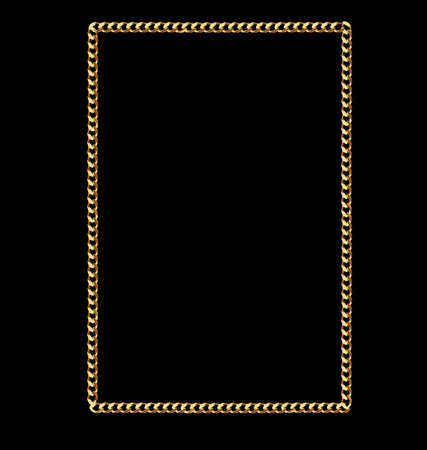 gold string: Gold Solid Square Link Chain Frame Illustration