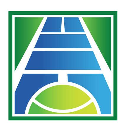 Tennis logo met rechter en de bal