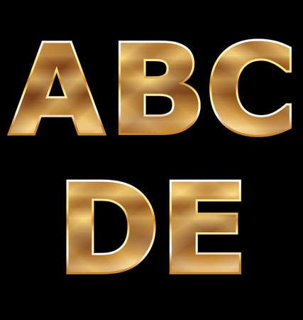 metallic letters: Gold Letters Set A-E
